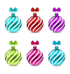 Set Christmas Colorful Glassy Balls vector image