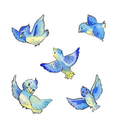Set of flying blue birds watercolor vector