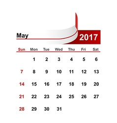Simple calendar 2017 year may month vector