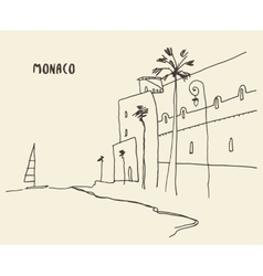 Sketch streets Monaco drawn vector image