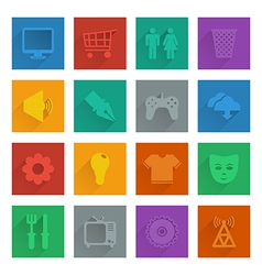 square media icons set 2 vector image