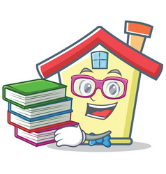 Student with book house character cartoon style vector