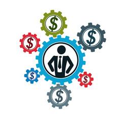 successful businessman creative logo conceptual vector image