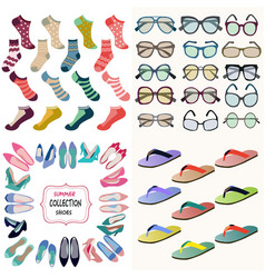 summer accessories collection sunglasses socks vector image