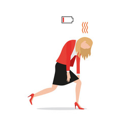 tired exhausted businesswoman with red low battery vector image