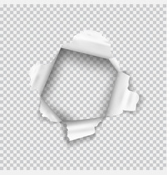 Torn paper realistic hole in the sheet of paper vector
