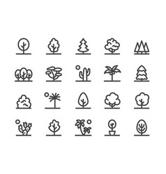 trees plants line icon flat vector image