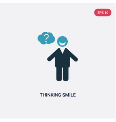 Two color thinking smile icon from people concept vector