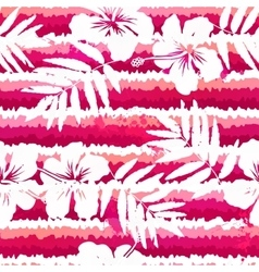 White flowers and grunge pink stripes seamless vector image