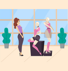 Woman looking at mannequin in clothing store vector
