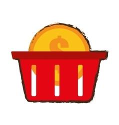 Basket buy coin dollar sketch vector