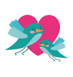 cute flying birds heart in love romance vector image