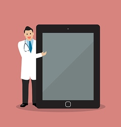 Doctor pointing to the screen of a tablet vector image vector image