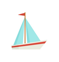 flat cartoon little sailing ship boat sailboat vector image vector image