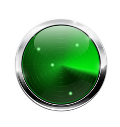 green radar scanner round device with chrome vector image