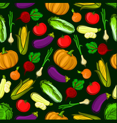icons of vegetables in seamless pattern vector image