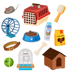 pet shop icons set in cartoon style vector image vector image