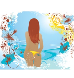 Summer abstract background with girl vector