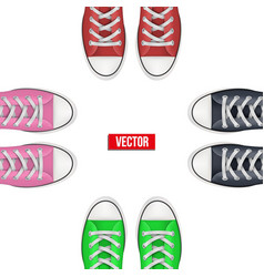 top view of colored sneakers vector image vector image
