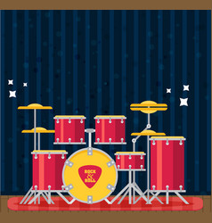 color flat style drum set bass tom-tom ride vector image vector image