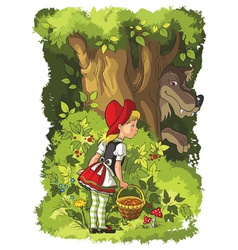 little red riding hood and wolf vector image