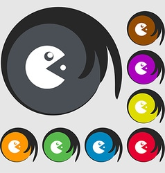 Pac man icon sign symbols on eight colored buttons vector