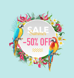 summer sale tropical flowers and parrots banner vector image vector image