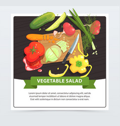 cooking vegetable salad in process vector image vector image