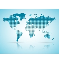 halftone blue Earth map with reflection vector image