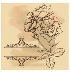 old background with frame and flowers vector image