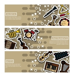 Set of Horizontal Banners musical instruments vector image vector image