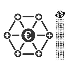Euro medical network icon with people bonus vector