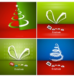 Four Abstract Christmas Background Sets vector image vector image