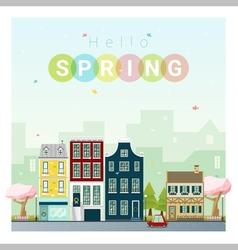Hello spring cityscape background 1 vector