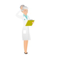 senior caucasian doctor scratching her head vector image vector image
