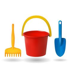 toys for sandbox baby bucket rake scapula vector image vector image
