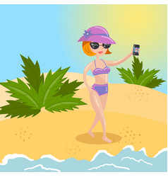 young woman in purple swimsuit and sun hat taking vector image