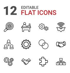 12 teamwork icons vector image