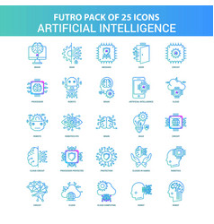 25 green and blue futuro artificial intelligence vector image
