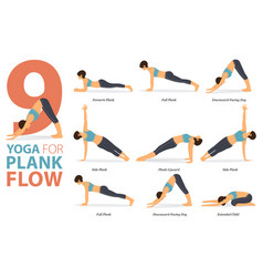 9 yoga poses for workout in plank flow concept vector image