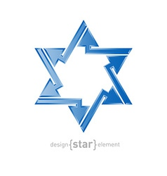 Abstract design element star of David with arrows vector
