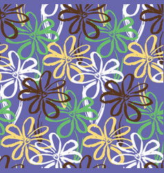 abstract purple pattern with ink simple flowers vector image