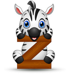 alphabet z with zebra cartoon vector image