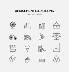 amusement park line icons flat design vector image