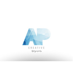 ap a p blue polygonal alphabet letter logo icon vector image