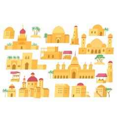 Arab city set flat vector