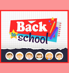 Back to school notebook sheet and stationery vector