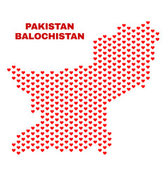 balochistan province map - mosaic of love hearts vector image