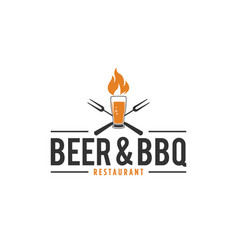 barbecue and beer logo with fire glass beer vector image
