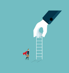 big hand giving ladder to businessman for help vector image